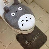 Buy 3 pcs/set Super soft Shu Velveteen thickening toilet potty sets toilet seat cover Totoro Cartoon Warm Close Stool Cushion Mat at Home - Design & Decor Shopping