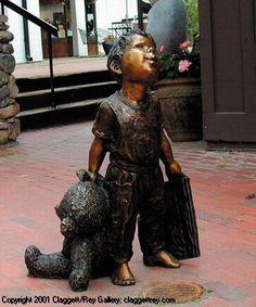 Book and Bear - sculpture by Jane DeDecker  -  Claggett/Rey Gallery - Vail. Colorado