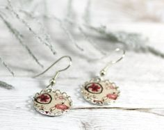 Red Poppies and Flowers Necklace Pendant Red by CutTheFish on Etsy, $22.00