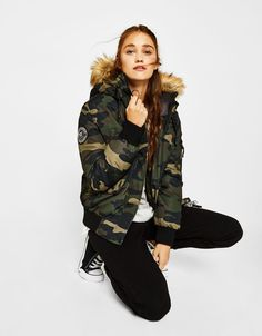 Hooded nylon jacket - null - Bershka Bosnia and Herzegovina Nylons, Hot Wheels, Hoods, Winter Jackets, Clothes For Women, Jeans, Camouflage Outfit, Outfits, Shopping