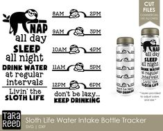 Sloth Water Intake Tracker Sloth SVG and Cut Files for   Etsy Water Intake Tracker, Water Bottle Tracker, Water Reminder, Printed Materials, Drinking Water, School Design, Sloth, Fun Crafts, Adult Crafts