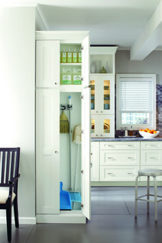 Keep cleaning supplies organized and easy-to-reach in a space-saving cabinet.