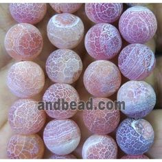 orange frosted Agate beads, round (GA1227-8MM) approx 8mm dia
