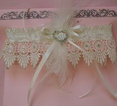 Gorgeous Ivory Wedding Garter With Feathers & Diamantes-Lou