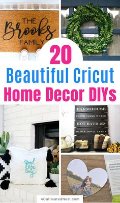 The 20 Best Cricut DIY Decor Projects- We have the ultimate list of the best Cricut DIY decor projects for you! They are a blast to work on and will add charm to your home! Diy Home Decor Projects, Easy Home Decor, Vinyl Projects, Home Improvement Projects, Cricut Basic Tool Set, Drop Cloth Projects, Paper Mobile, Diy Home Repair, Personalized Door Mats