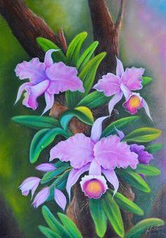 flores-oleo-lienzo Botanical Illustration, Botanical Prints, Illustration Art, Watercolor Pencil Art, Watercolor Flowers, Wonderful Flowers, Silk Art, Bottle Painting, Arte Floral