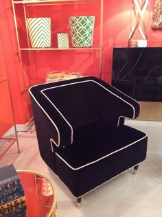 Stylish club chair in black with white contrasting welt. - Living With Color Designs