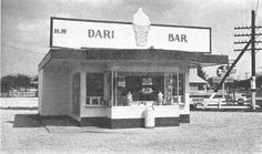 Ballard's H & W Dairy Bar 1957 Was located where W. Main St curved to meet SR 32, Lebanon, Indiana.. Building later converted to a package liquor store operated by Clarence Miller. Note the Dog & Suds just east.