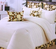 Simple Bedding With Patterned Decorative Pillows And A Bedskirt Make This Collection Complete Anna S Linens Create Your Own Sanctuary