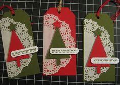 Tree Punch Christmas Tag - SU -  Teeny Tiny Wishes stamp set - Tree, Word Window, Merry Minis & Angled Tag Topper Punches (by Barb Mann)