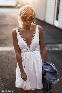 White dress with lace details
