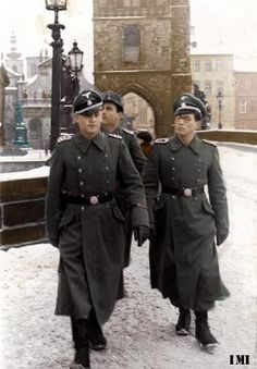 Waffen SS officers in Prague