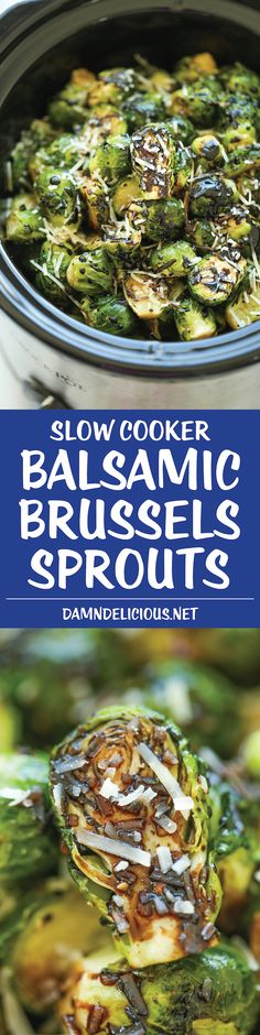 Slow Cooker Balsamic Brussels Sprouts - Free up your oven with this amazingly easy crockpot recipe. Simply throw everything in and you're set! Easy peasy! Healthy Crockpot Recipes, Vegetable Recipes, Vegetarian Recipes, Cooking Recipes, Locarb Recipes, Atkins Recipes, Crockpot Ideas, Kale Recipes, Veggie Food