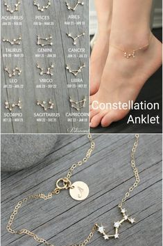 Constellation ANKLETS zirconia diamonds gold filled cz celestial zodiac ankle bracelet chain personalized initialization bridesmaids - This dainty gold filled anklet with a heavenly constellation connector set made with miniature - Cute Jewelry, Jewelry Box, Silver Jewelry, Jewelry Accessories, Jewelry Design, Indian Jewelry, Jewelry Rings, Vintage Jewelry, Anklet Jewelry