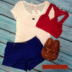 Get 4th of July ready with this fun new outfit! Ivory tee $9.99 small-large Blue shorts $32.99 small-large Red bra top $21.99 small-large Sandals $18.99 Necklace $12.99 #bedazzledokc
