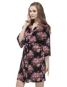 Women's Floral Pattern Cotton Bridesmaid Robe, Wedding Party Bathrobes, Short Length Soft Cotton Kimono Bathrobes