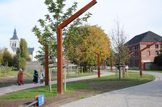 A017 - CorTEN trapezium shaped lamp posts - PMF Steel Poles