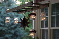 Pottery Barn inspired ladder lantern hanger