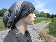 198d28dc944 Big Oversized Tam Slouchy Beanie Men s Bohemian Clothing Cotton Wool Saggy  Back Slouch Hat Striped Charcoal