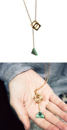 cube and turquoise lariat necklace #geometric