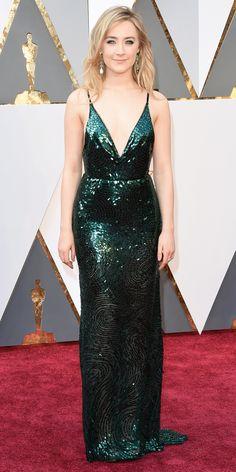 2016 Oscars Red Carpet Photos - Saoirse Ronan. Stunning green sequin dress from the Calvin Klein collection.