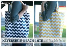 Easy Reversible Beach Tote Tutorial - My Sister's Suitcase - Packed with Creativity