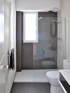 Bathroom renovation - Home Decor Narrow Bathroom, Bathroom Design Small, Grey Bathrooms, Bathroom Layout, Bathroom Interior Design, White Bathroom, Modern Bathroom, Bathroom Ideas, Bathroom Green