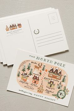 North Pole Map Postcard Set - by Rifle Paper Co. anthropologie.com