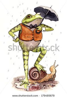 Watercolor and ink frog character standing on a snail in the rain.