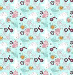 Divertida tela de patchwork con pájaros en varias tonalidades: azul turquesa, burdeos, rosa y naranja