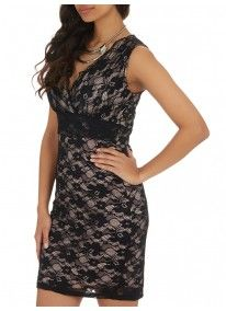Revenge | V-neck Lace Bodycon Dress Black