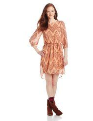 My Michelle Juniors Chevron Printed Peasant High-Low Dress