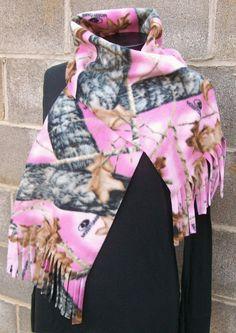 Pink Mossy Oak Camouflage Fleece Scarf. $10.00, via Etsy.