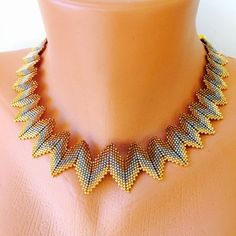 Items op Etsy die op Beaded collar necklace , peyote necklace , gold copper and silver beaded necklace , gold plated cleopatra necklace , miyuki beads necklace lijkenThis Pin was discovered by jod Bead Jewellery, Seed Bead Jewelry, Beaded Collar, Collar Necklace, Seed Bead Necklace, Beaded Necklace, Necklaces, Miyuki Beads, Peyote Beading