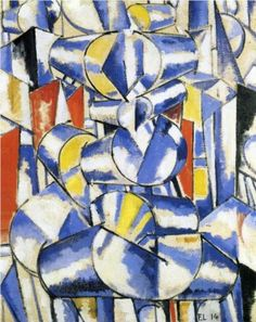 Fernand Leger - Contrast of Forms, 1914. This is one of a series of works, all entitled Contrast of Forms, that Léger began in May 1913, shortly after giving a lecture at the Académie Wassilief in Paris.   In this celebrated lecture, Léger argued for the independence of painting from its traditional role of representation and proposed instead that it should express the experience of living in a modern technological environment through nonrepresentational contrasts of lines, shapes, and…