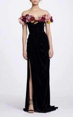 Velvet Off the Shoulder Gown by MARCHESA for Preorder on Moda Operandi
