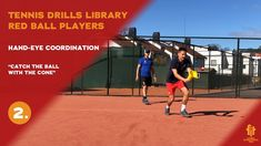 Red ball players drills and exercises: Throw over head, catch in the cone Tennis Videos, Tennis Workout, Throw Over, Player 1, Drills, Exercises, Basketball Court, Red, Exercise Routines