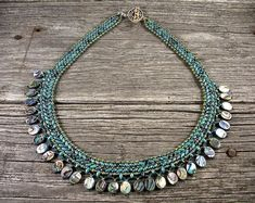 """Beadweaving: Superduo Petite """"Collar"""" Necklace in Turquoise with Abalone Shell"""