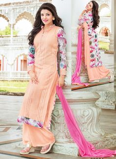 Kajal Aggarwal Peach Georgette Palazzo Churidar Suit