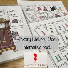 This fun interactive book allows you to both work on numbers and animals. Developed because a little boy loved seeing the elephant climb up the clock and CRASH!