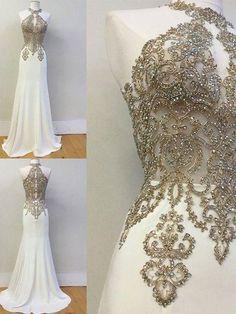 Beautiful Ivory Prom Dresses High Neck Sheath/Column Long Prom Dress/Evening Dress JKL168