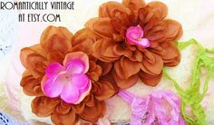 Shabby Flower Wedding Decor Rustic Brown by RomanticallyVintage, $12.00