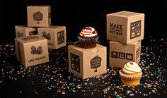 Humorous and fun! a box that you wouldn't expect for a cupcake! great idea however is the box a bit too big for the cupcake? waste of material? but then it would lose its quirkiness.