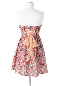 pink floral strapless. I can jut imagine wearing on a summer date night