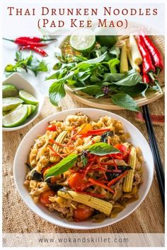 Pad Kee Mao (Drunken Noodles) is a stir-fry that features wide rice noodles tossed in a classic Thai sauce, ground pork, vegetables, and Thai basil. Asian Noodle Recipes, Asian Recipes, Beef Recipes, Ethnic Recipes, Easy Recipes, Indonesian Recipes, Corn Recipes, Skillet Recipes, Sweets Recipes
