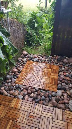 #Outdoor #shower #floor  #stones