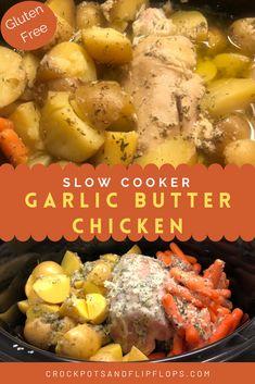 Crockpot Chicken And Potatoes, Crockpot Chicken Dinners, Fall Crockpot Recipes, Garlic Butter Chicken, Crockpot Dishes, Crock Pot Cooking, Slow Cooker Chicken, Slow Cooker Recipes, Cooking Recipes