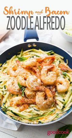 Low-Carb Shrimp and Bacon Zoodle Alfredo | dinner, recipe, easy, gluten free, recipe, keto, lowcarb, healthy, zoodles, zucchini, cream, shrimp, paprika, recipe