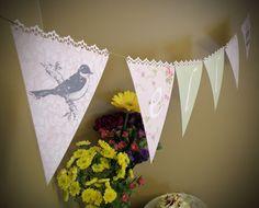 printable customizable banner- precious garden collection- spring flower, bird, birdcage, vintage wallpaper, garland