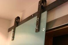 Barn Door Hardware With A Glass Door Combo - http://RusticaHardware.com/